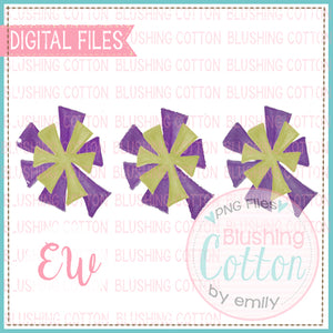 POMPOMS PURPLE AND GOLD TRIO DESIGN WATERCOLOR PNG BCEW