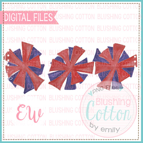 POMPOMS RED AND BLUE TRIO DESIGN WATERCOLOR PNG BCEW