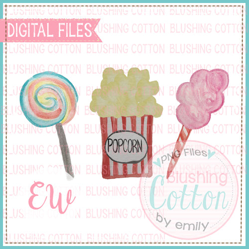 POPCORN CARNIVAL TRIO DESIGN WATERCOLOR PNG BCEW