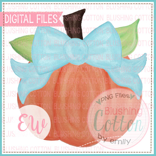 PUMPKIN WITH AQUA BOW WATERCOLOR ARTWORK DESIGN IN DIGITAL PNG FILE FOR PRINTING AND OTHER CRAFTS