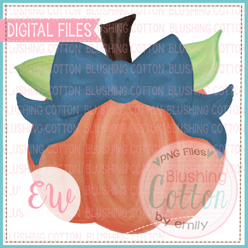 PUMPKIN WITH NAVY BOW WATERCOLOR DESIGN DIGITAL PNG FILE FOR PRINTING AND OTHER CRAFTS BCEW