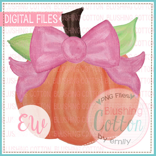 PUMPKIN WITH PINK BOW WATERCOLOR DESIGN DIGITAL FILE FOR PRINTING AND OTHER CRAFTS BCEW