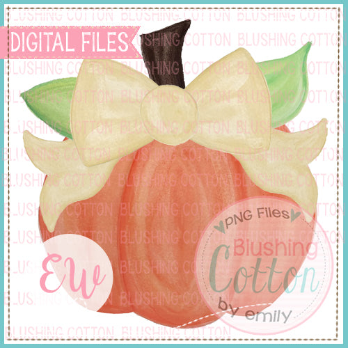 PUMPKIN WITH YELLOW BOW WATERCOLOR DIGITAL FILE FOR PRINTING AND OTHER CRAFTS