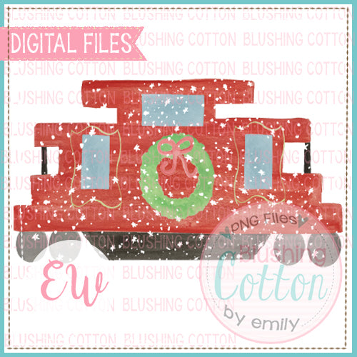 RED CABOOSE WITH SNOW DESIGN WATERCOLOR PNG BCEW