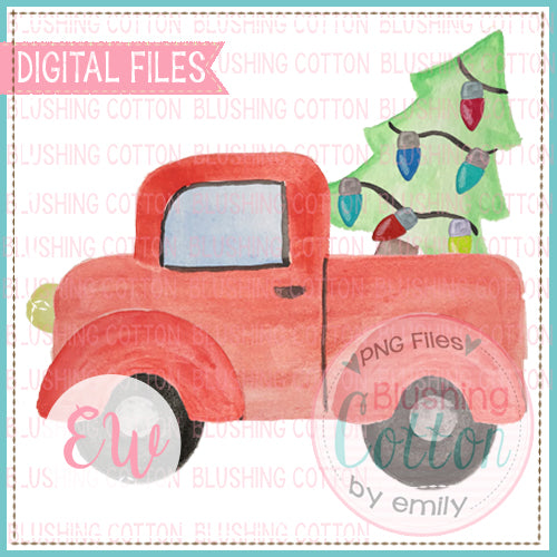 RED TRUCK AND TREE DESIGN WATERCOLOR PNG BCEW
