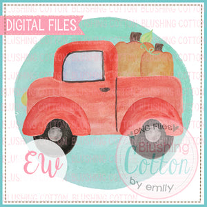 RED TRUCK WITH PUMPKINS WITH GREEN BACKGROUND DESIGN WATERCOLOR PNG BCEW