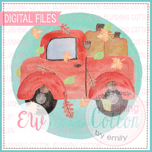 RED TRUCK WITH PUMPKINS WITH BLUE BACKGROUND AND FALLING LEAVES DESIGN WATERCOLOR PNG BCEW