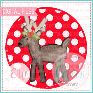 REINDEER WITH HOLLY RED BACKGROUND BCEW