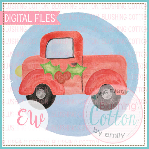 SIDE TRUCK RED HOLLY BACKGROUND DESIGN WATERCOLOR PNG BCEW