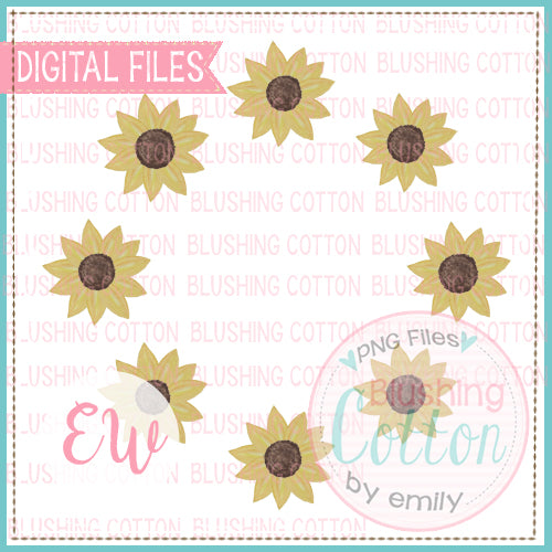 SUNFLOWER FRAME DESIGN WATERCOLOR PNG BCEW