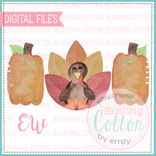 TURKEY PUMPKIN TRIO DESIGN WATERCOLOR PNG BCEW
