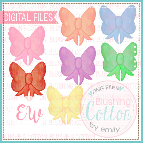 Bow Set 2 Watercolor Designs PNG BCEW