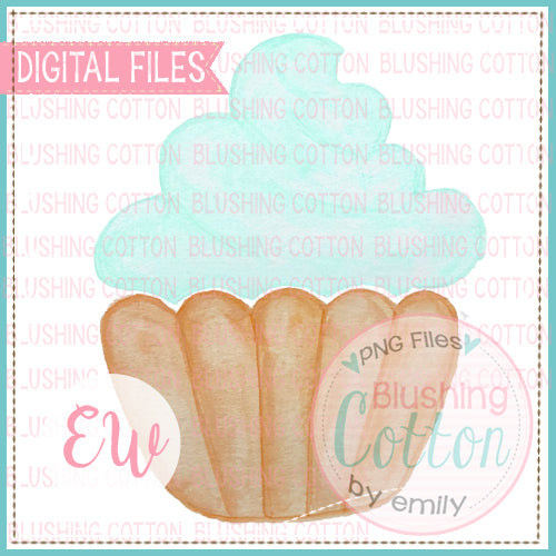 CUPCAKE AQUA DESIGN WATERCOLOR PNG BCEW