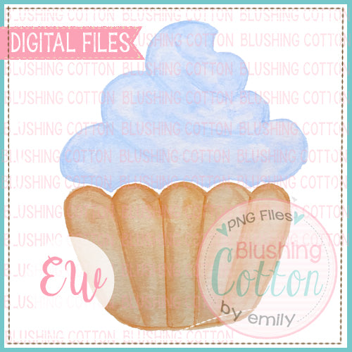CUPCAKE BLUE DESIGN WATERCOLOR PNG BCEW