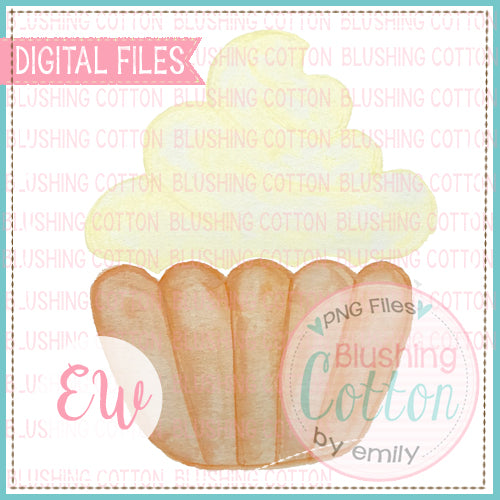 CUPCAKE YELLOW DESIGN WATERCOLOR PNG BCEW