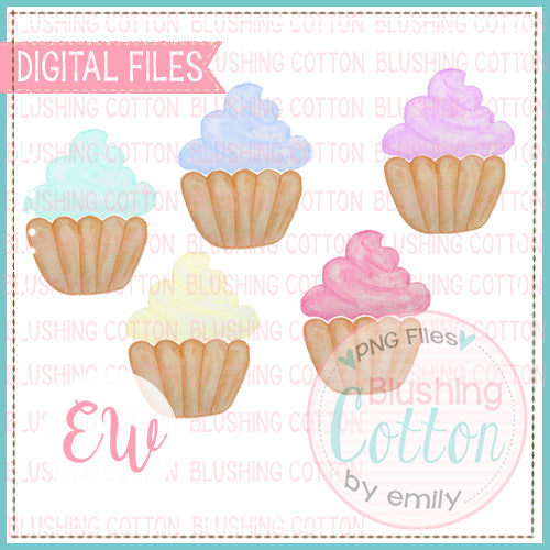 CUPCAKE SET WATERCOLOR DESIGNS PNG BCEW