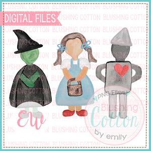 WITCH GIRL METAL MAN WATERCOLOR DIGITAL PNG FILE BCEW