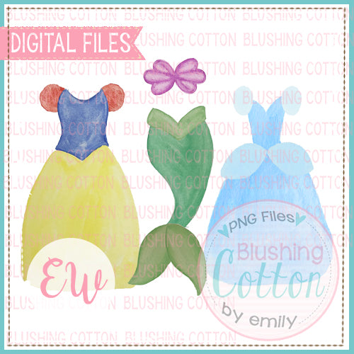 YELLOW WITH BLUE PRINCESS DRESSES MERMAID TAIL WATERCOLOR DESIGN DIGITAL PNG FILES BCEW