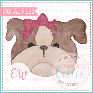 BULLDOG BROWN WITH MAROON BOW WATERCOLOR DESIGN PNG DIGITAL DESIGN FOR PRINTING BCEW