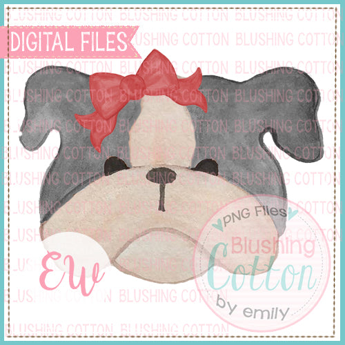 BULLDOG GREY WITH RED BOW WATERCOLOR DESIGN PNG DIGITAL FILE BCEW