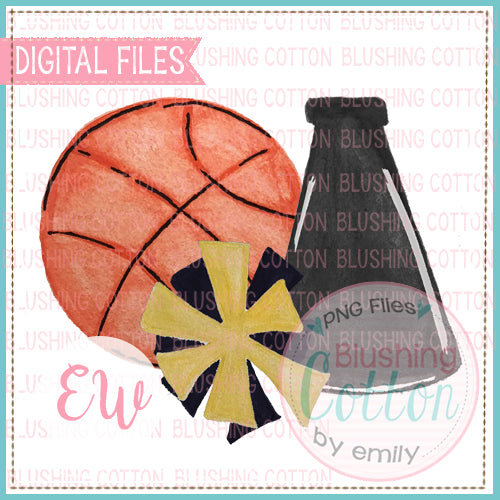 BASKETBALL MEGAPHONE POMPOM BLACK AND GOLD WATERCOLOR DESIGN IN DIGITAL PNG FILE FOR PRINTING AND OTHER CRAFTS BCEW