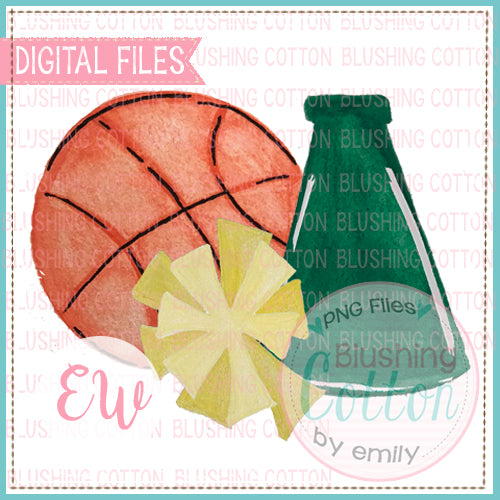 BASKETBALL MEGAPHONE POMPOM HUNTER GREEN AND GOLD WATERCOLOR DESIGN PNG DIGITAL FILE FOR PRINTING AND OTHER CRAFTS BCEW