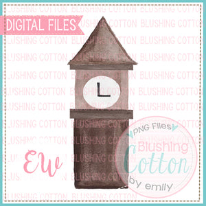 CLOCK TOWER WATERCOLOR DESIGN DIGITAL FILE FOR PRINTING OR OTHER CRAFTS BCEW
