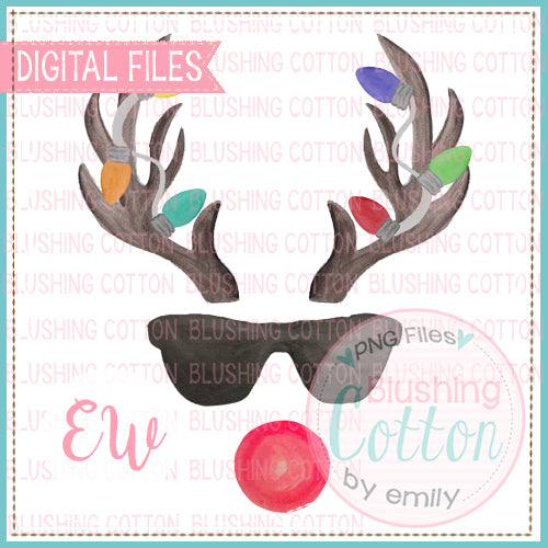 ANTLERS 2 LIGHTS RED NOSE SUNGLASSES BCEW