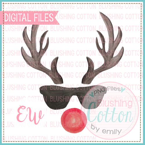 ANTLERS 2 SUNGLASSES RED NOSE BCEW