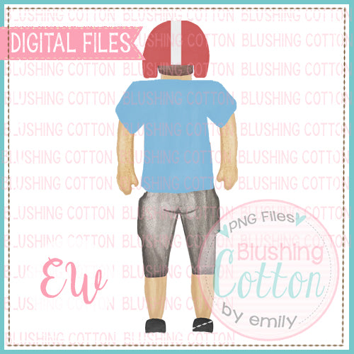 FOOTBALL PLAYER BACK VIEW LIGHT BLUE RED BCEW