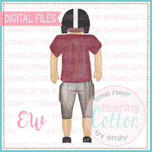 FOOTBALL PLAYER BACK VIEW MAROON BLACK BCEW