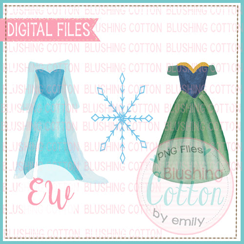 FROSTED SNOWFLAKE PRINCESS DRESSES TRIO BCEW