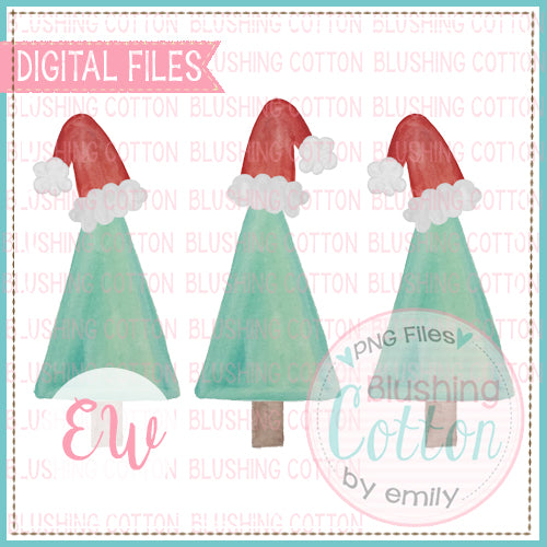 TREE SANTA HATS TRIO WATERCOLOR DESIGN FOR PRINTABLE AND OTHER CRAFTS BCEW