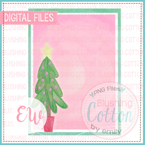 CHRISTMAS TREE IN BUCKET FRAME INVITATION BCEW