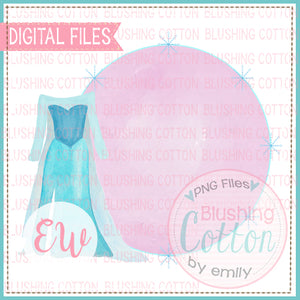 FROSTED BLUE PRINCESS DRESS AND FRAME BCEW