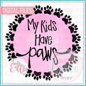 PAW FRAME PINK MY KIDS HAVE PAWS WATERCOLOR DESIGN BCEW