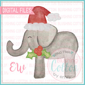 CHRISTMAS ELEPHANT NO FOOTBALL WATERCOLOR DESIGN BCEW
