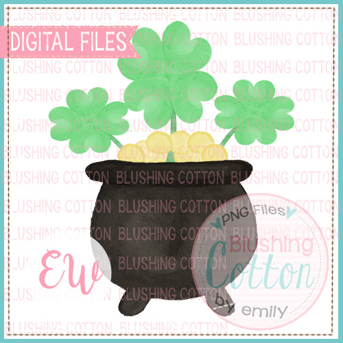 POT OF GOLD AND CLOVER WATERCOLOR DESIGN BCEW