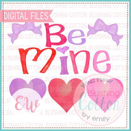 BE MINE HEARTS AND BOWS WATERCOLOR DESIGN BCEW