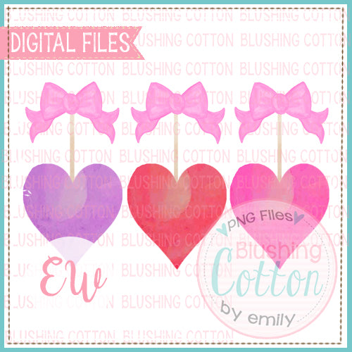 HEARTS AND BOWS WATERCOLOR DESIGN BCEW