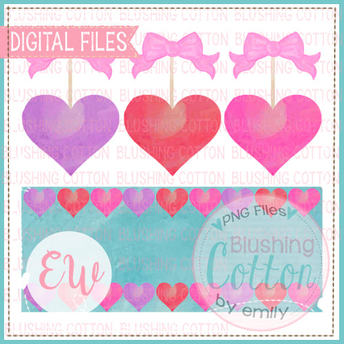 HEARTS AND BOWS WITH NAMEPLATE WATERCOLOR DESIGN BCEW