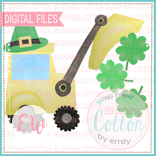 BULLDOZER WITH CLOVERS WATERCOLOR DESIGN BCEW