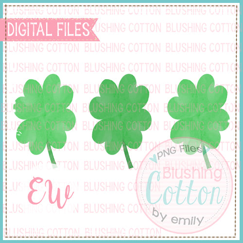 4 LEAF CLOVER TRIO WATERCOLOR DESIGN BCEW
