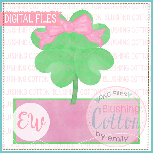 4 LEAF CLOVER WITH BOW AND NAMEPLATE PINK WATERCOLOR DESIGN BCEW