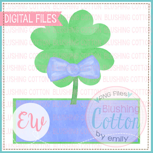 4 LEAF CLOVER WITH BOW TIE AND NAMEPLATE BLUE WATERCOLOR DESIGN BCEW