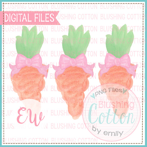 CARROT TRIO WITH PINK BOWS WATERCOLOR DESIGN BCEW