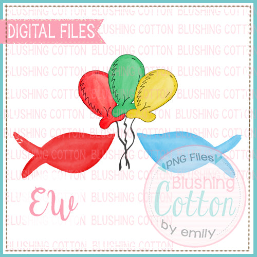 DR BIRTHDAY BALLOONS AND FISH WATERCOLOR DESIGN BCEW