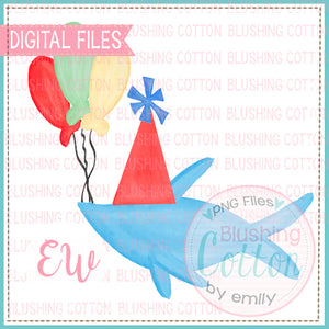 DR BIRTHDAY BLUE FISH WITH BIRTHDAY HAT AND BALLOONS WATERCOLOR DESIGN BCEW