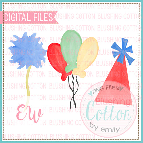 DR BIRTHDAY HAT BALLOONS AND POMPOM FLOWERS WATERCOLOR DESIGN BCEW