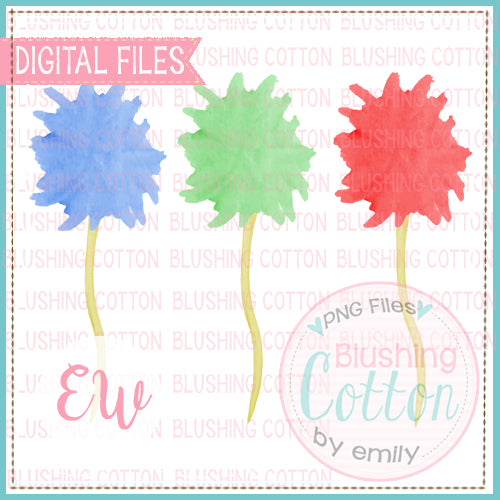 DR BIRTHDAY POMPOM FLOWER TRIO WATERCOLOR DESIGN BCEW